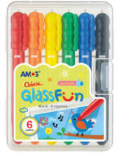 Ablakfestő zsírkréta műanyag dobozban - Amos - 6 db-os szett