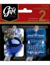 Karácsonyi masnis ajándékkísérő - 2 db/csomag - Kék gömbös