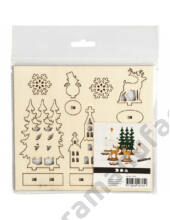 Karácsonyi kreatív készlet - fa dekoráció készítő - Templom