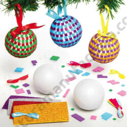 Karácsonyfa gömb készítő kreatív készlet - mozaikos 4 db/csomag