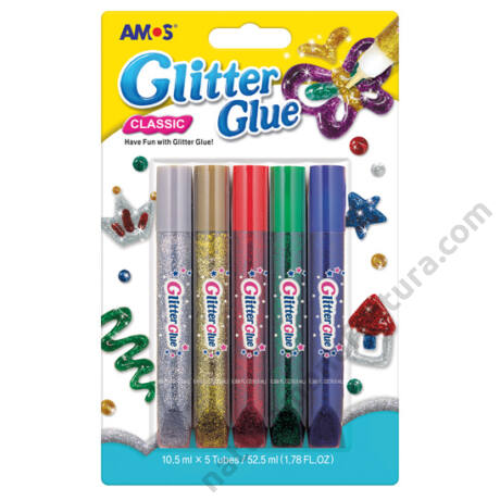 Amos Csillámragasztó készlet 5 szín